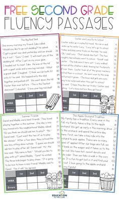 FREE 2nd Grade Fluency Passages