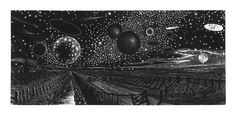 George Tute. UFO's over Fenland. 1973. (wood engraving)