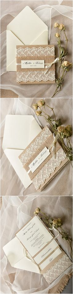 Rustic Burlap Lace Poketfold Wedding Invitations / http://www.deerpearlflowers.com/rustic-wedding-invitations/3/