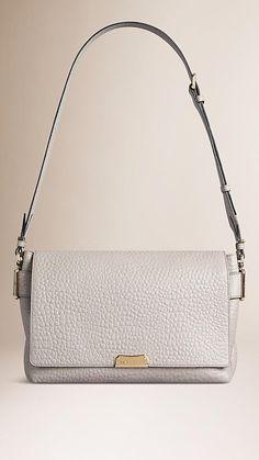 Pale grey Signature Grain Leather Shoulder Bag - Image 1