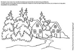 Coloring Pages Winter Scenery Pictures - - Yahoo Image Search Results Christmas Landscape, Winter Landscape, Christmas Colors, Christmas Art, Christmas Houses, Christmas Fireplace, Christmas Coloring Sheets, Scenery Pictures, Black And White Landscape