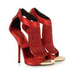 van Giuseppe Zanotti enkelbandje rode sandaal met multi-gekleurde kristallen