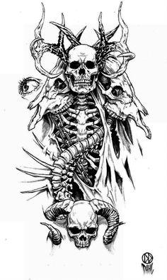 Tattoo Design by DanielDahl on DeviantArt – skull tattoo sleeve Tatto Skull, Skull Sleeve Tattoos, Demon Tattoo, Skeleton Tattoos, Sick Tattoo, Skull Tattoo Design, Tattoo Design Drawings, Tattoo Sketches, Tattoo Designs