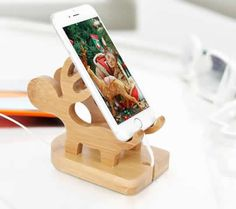 Bamboo  Muntjacs Cell Phone Stand Charging Dock Holder