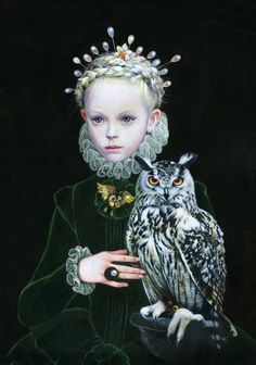 """Buy QUEEN OF OWL, a Acrylic on Canvas by Titti Garelli from Italy. It portrays: Women, relevant to: owl, pearls, ruff, blond hair, owl brooch, hair pins, narcissus In my serie of paintings named """"Gothic Queens""""animals have  a special place . In the History of Art we find out a lot of imagines about ladies (or gentlemen) with all of sort of animals, so after the little Queens of squirrels, this time I did a young Queen with a owl."""
