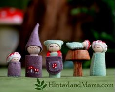 Waldorf Toadstool Family - plant dyed 100% Wool Felt - Wooden peg dolls. Timber toadstool. Mushroom Woodland Family. Green Brown Red Nature. $55.00, via Etsy.