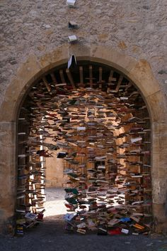 Art Supply: books, Suspended Books Magically Fill Swiss Tunnel