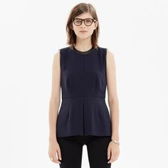 Madewell Leather-Trim Peplum Top Excellent condition. No trades. Madewell Tops Blouses