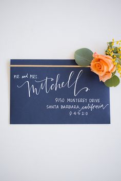 Looking for your wedding color palette? The Perfect Palette wants to help! The Perfect Palette is dedicated to helping you see the many ways you can use color to bring your wedding to life. Hand Lettering Envelopes, Calligraphy Envelope, Envelope Art, Addressing Envelopes, Wedding Calligraphy, Calligraphy Letters, Brush Lettering, Modern Calligraphy, Wedding Fonts