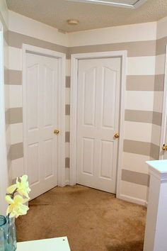 Painting stripes on walls @Kari Jones Jones Jones Sweeney Anderson. This is what I'm gonna do to my living room but with grey