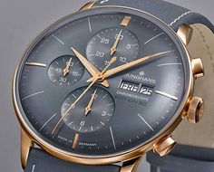 Junghans Meister Chronoscope limited Editions in edlem Grau Junghans Meister Chronoscope limited editions in noble gray Trendy Watches, Best Watches For Men, Luxury Watches For Men, Cool Watches, Mvmt Watches, Watches Photography, Beautiful Watches, Fashion Watches, Hard Earned