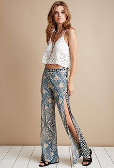 FOREVER 21 raga floral baroque side-slit pants