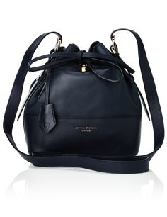 Navy Leather Drawstring Bucket Bag Aspinal of London
