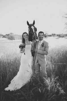 taking some photos with the bride's horse