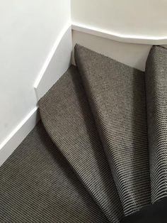 Client: Private Residence In North London Brief: To supply & install grey striped carpet to stairs Grey Striped Carpet, North London, Grey Stripes, Stairs, Gray Stripes, Stairway, Staircases, Ladders, Gray Streaks