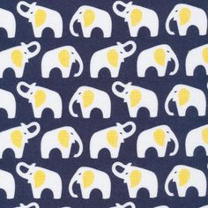 Flannel Navy Elephants by Cloud 9 Fabrics Organic Cotton