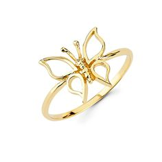 Beautiful Designed 14k Dainty Gold Butterfly Ring, Bug Jewelry Gift for Her on Valentine's Day