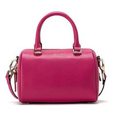 JESSIE & JANE Women Leather Small Boston Bag Crossbody Bag Top Handle Handbag 1293 Fushcia  #love @shoppevero @amazon #want #shoppevero