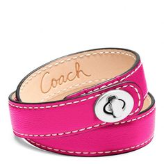 Coach Leather Double Wrap Turnlock Bracelet ($48) ❤ liked on Polyvore