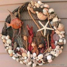 Lots of good ideas for the use of shells-Natural Shell Wreath Use similar-size shells for a quick natural wreath. Description from pinterest.com. I searched for this on bing.com/images