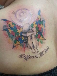 Autism tattoo, wings, watercolor, autism colors! Shoulder placement! ❤️