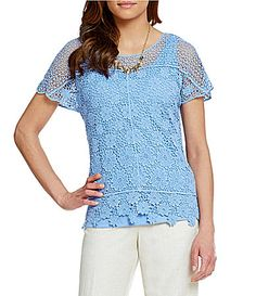Ruby Rd Petite Twin Floral Lace ScoopNeck Top #Dillards