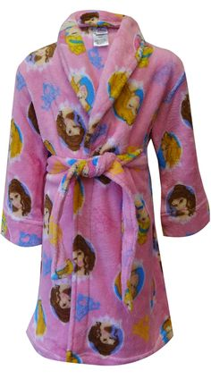 Disney Girls 10//12 Pink Cinderella Robe Belle and Rapunzel Fleece Bathrobe
