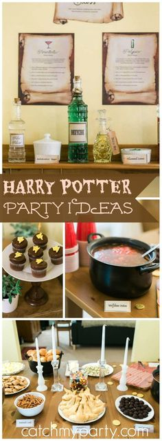 You have to see this amazing Harry Potter birthday party! See more party id… - Diy Baby Harry Potter Baby Shower, Harry Potter Adult Party, Harry Potter Motto Party, Harry Potter Fiesta, Harry Potter Halloween Party, Harry Potter Christmas, Harry Potter Birthday, Harry Potter Snacks, Harry Potter Thema