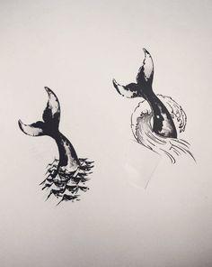 Whale tail tattoo designs. Tattoo artist: doy