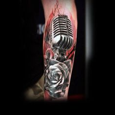Beautiful Microphone And Rose Tattoo Mens Forearms