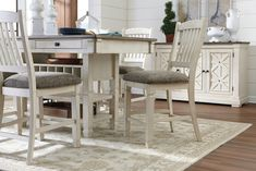 Bolanburg Counter Height Dining Room Table, Two-tone Dining Room Furniture Sets, Dining Room Table, Dining Chairs, Tuscan Style Homes, Classic White Kitchen, Counter Height Dining Table, At Home Store, Home Office Decor, Utensils