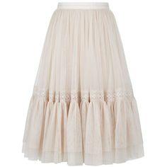 Needle & Thread Lace Insert Tulle Midi Skirt (€180) ❤ liked on Polyvore featuring skirts, rose skirt, shirred skirts, mid calf skirts, pink tulle skirt and tulle midi skirt