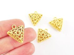 Triangle Filigree Pillow Charms  22k Matte Gold by LylaSupplies