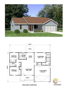 Ranch House Plan 94426 | Total Living Area: 1158 SQ FT, 3 bedrooms and 2 bathrooms. #ranchhome