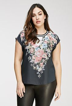 Varsity-Striped Floral Top | Forever 21 PLUS - 2000055689
