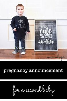 Pregnancy Announcement for a Second Baby! This second pregnancy announcement features the big brother to be. Always fun to have the big sibling involved!
