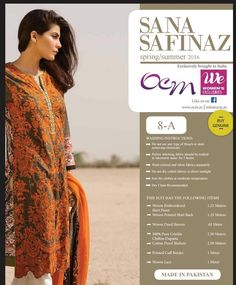 Sana Safinaz 2016  Embroderied lawn with silk / chiffon dupptta  8802300456