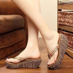 US Women Summer Wedge Slippers Platform Thong Flip Flops High Heels Shoes Beach Girls Shoes Online, Indian Shoes, Bridal Sandals, Womens Summer Shoes, Fashion Sandals, Wedge Sandals Outfit, Shoes Sandals, Shoes Sneakers, Casual Shoes