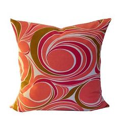 "Vintage Fabric Pair Of Cushion Covers 1970s Pink Psychedelic 18"" x 18"" Retro NEW"