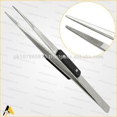 Model Number: TW-901      Stainless Steel Non Magnetic Serrated Pointed. Made with Heat Resistant FiberGrip.  Non Locking Hand Use Anti Acid Soldering Tweezer.