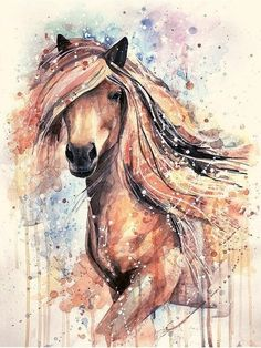 horse, art, and рисунок image Watercolor Horse, Watercolor Art Paintings, Watercolor Animals, Animal Paintings, Painted Horses, Modern Art Styles, Unicorn Art, Horse Drawings, Equine Art