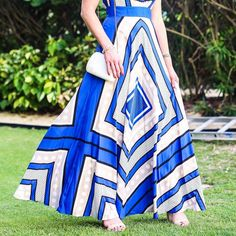 Dreamy Blue Geometric Maxi Dress // Vacation Outfit Idea // Summer Wedding Look // Fashion blogger // http://fashionandfrills.com/instagram-round-up-20-looks-in-1-post/