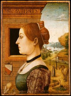 Portrait of a Woman, possibly Ginevra d'Antonio Lupari Gozzadini Artist: Attributed to the Maestro delle Storie del Pane (Italian (Emilian), active late 15th century) Date: 1494? Medium: Tempera on wood Companion piece to  the Portrait of the Gozzadini (Bologna) man; the family's coat of arms appears prominently in both paintings.