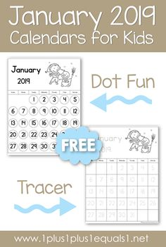 Calendars for kids: Grab your FREE printable February 2019 calendars for kids. Tracing and dot fun versions are great for preschool, Kindergarten and elementary students. 2018 Printable Calendar, Calendar Time, Kids Calendar, 2019 Calendar, Preschool Calendar, Kindergarten Worksheets, Preschool Activities, Preschool Kindergarten, Number Activities