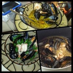 Mussels and jumbo shrimp with white wine fresh garlic sauce made by #chefjanetcook