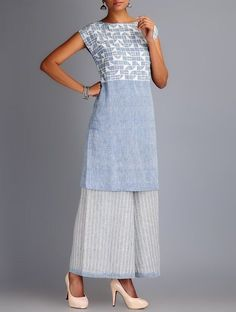 Buy Blue Ivory Applique & Embroidered Organic Cotton Kurta with Palazzos Set of 2 Online at Jaypore.com