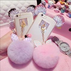Super Cute Bling Mickey Ear Puff Ball Cell Case Super Cute Bling Mickey Ear Puff Ball Cell Case. Light Pink for iPhone 6/6S Accessories Phone Cases