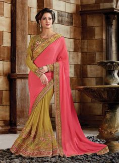 Shop saree online. Buy this baronial hot pink classic designer saree for bridal and wedding. Shop now! Customization & worldwide free shipping.