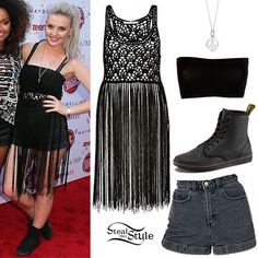Little Mix performed at Teen Vogue Back to School Event yesterday. Perrie Edwars wore a River Island Crochet Tassel Top (Sold Out), the Stone Wash High-Waist Jean Cuff Short from American Apparel ($58.00), a Bandeau Top similar to this from New Look (£2.99), the Peace Sign Charm by Tiffany & Co. ($175.00) and a pair of Dr. Martens Shoreditch Boots ($80.00). You can find Crochet Fringed Tops for $29.53 or $42.19 at ASOS.
