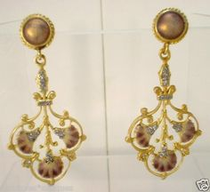art nouveau earrings, gold, enamel, diamonds